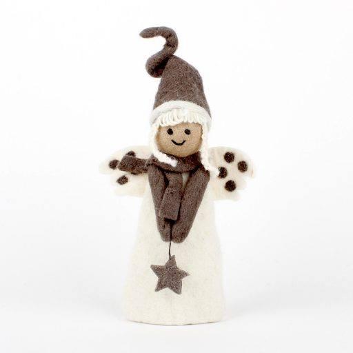 engel vilt van sjaal met verhaal fairtrade in wit met grijze tinten
