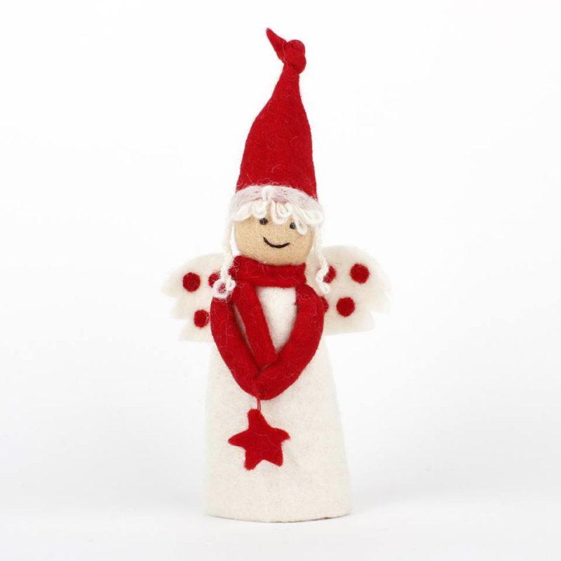 engel van vilt in wit met rode tinten fairtrade van sjaal met verhaal