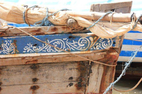 Boot uit Kenia met zeildoek, van het zeildoek maakt Ali Lamu fairtrade tassen