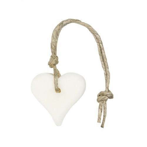 Wit zeepje hartvormig aan jute koord bedankt cadeau en kleine weggever personeel