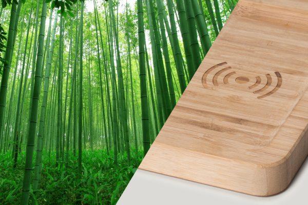 Bamboo bos met een deel van een Walter duurzame oplader voor de telefoon