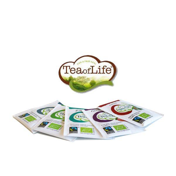 tea for life 5 verschillende theezakjes behorend bij candle bag cadeaupakket superwaste