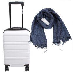 handbagagekoffertje wit met sjaal jeansblauw fairtrade en duurzaam gemaakt