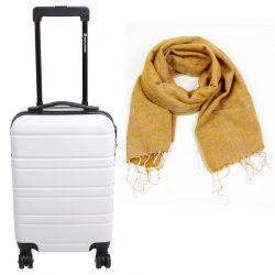 cadeaupakket trolley wit met sjaal oker fairtrade en duurzaam