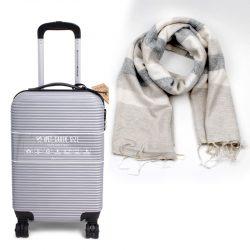 trolley zilver met sjaal gestreept duurzaam en fairtrade geschenk