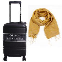 trolley zwart met oker sjaal duurzaam cadeau pakket