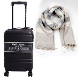 zwarte trolley van gerecycled materiaal met fairtrade sjaal duurzaam cadeaupakket