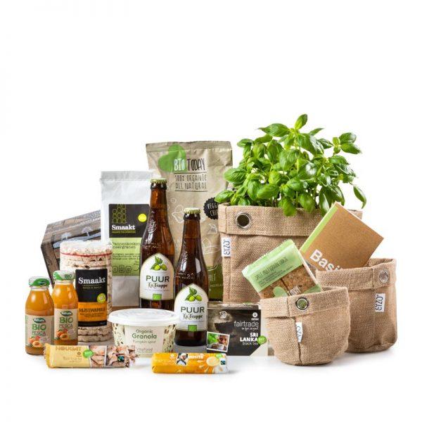 Biologisch kerstpakket met 3 jute mandjes en biologische producten