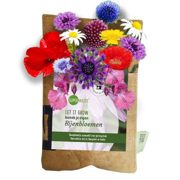bijenbloemen in een kweekzakje van het fairtrade merk superwaste, de bloemen kweek je zelf in het zakje