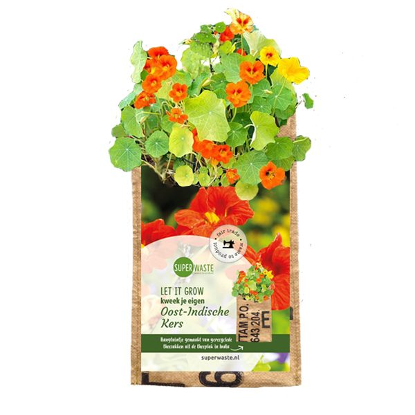 oost indische kers bloemetjes in een fairtrade kweekzakje van het merk Superwaste