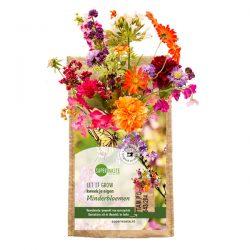 fleurige bloemen vlinderbloemnmix in een kweekzakje van het fairtrade merk superwaste