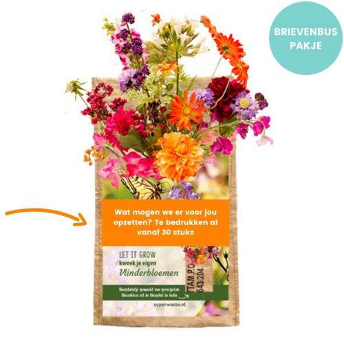 Kweektuintje om op te hangen. In het zakje zitten zaden en grond om zelf vlinderbloemen te kweken. Fairtrade relatiegeschenk