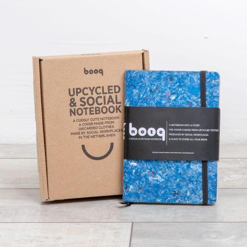 blauw notitieboek personaliseerbaar relatiegeschenk en giftbox bruin