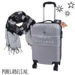 kerstpakket voor mannen zilverkleurige trolley met gestreepte sjaal