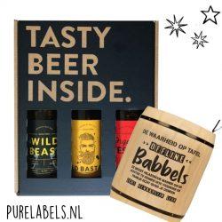 Kerstpakket met 3 speciale biertjes en klatspot babbels