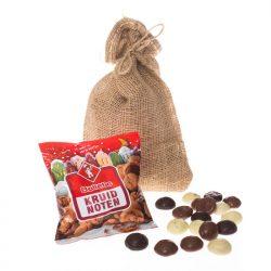 jute zakje met kruidnoten en kruidnoten chocola cadeau voor personeel en bedrijven