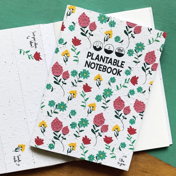 Notitiebook kaft met bloemenopdruk Plantable Notebook Bloom