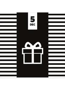 chocoladereep met 5 december sinterklaaswens in zwart met witte verpakking