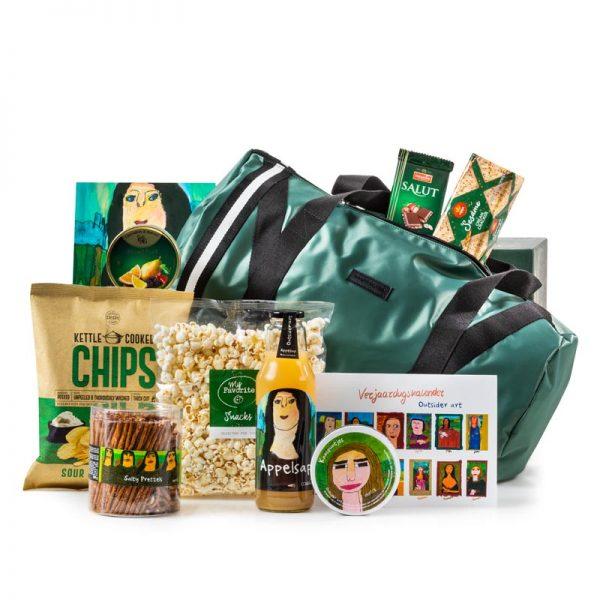 kerstpakket met groene sporttas in het teken van Mona Lisa kerstpakketten purelabels
