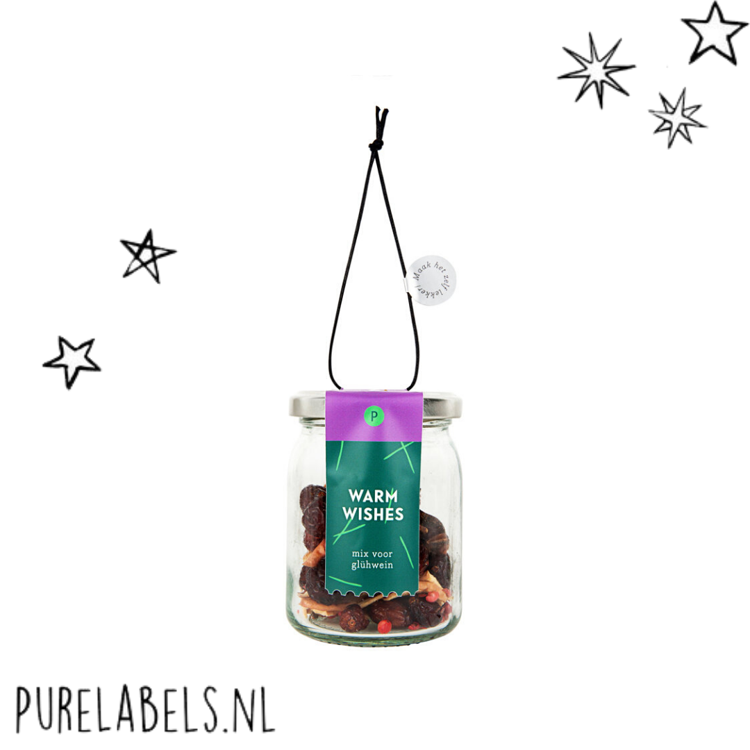 potje met ingrediënten om zelf gluhwein te maken purelabels.nl