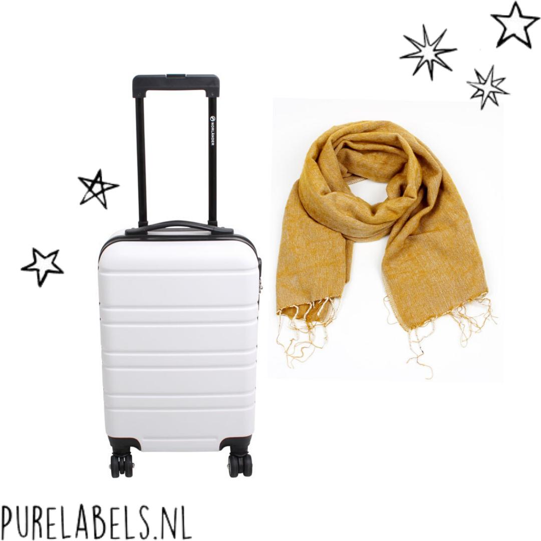 wit handbagage koffertje duurzaam met fairtrade sjaal oker kerstpakket