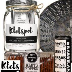 kletspot cadeaupakket kletspakket met kletspot, kletskoppen en roomboterbabbelaars