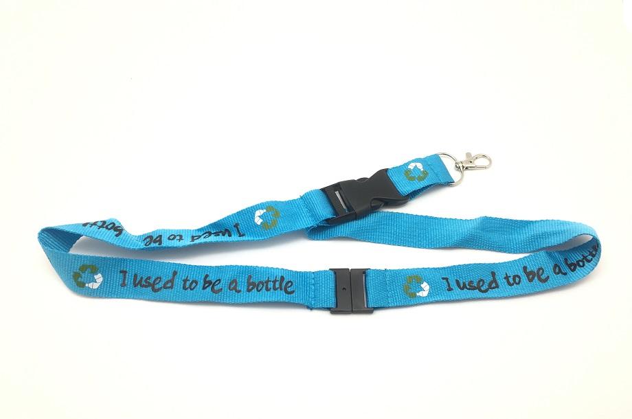blauw keykoord gemaakt van RPET gerecyclede flessen