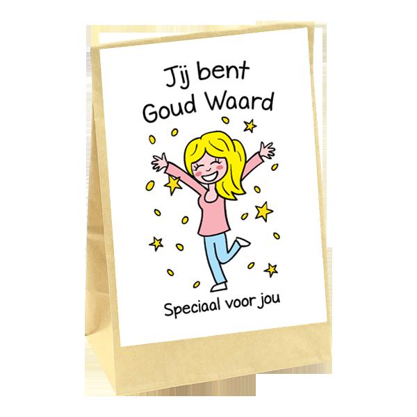Bedankcadeautje met vrolijke print en opdruk Jij bent goud waard