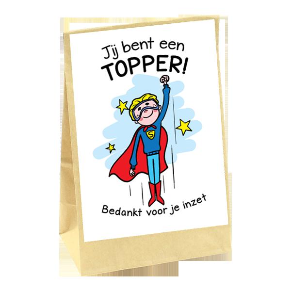 Superman bedankt cadeau met tekst bedankt voor je inzet