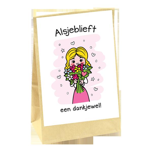 cadeauzakje alsjeblieft een dankjewel met een afbeelding van een meisje met bloemen