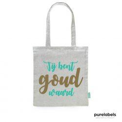 fairtrade tas grijs met opdruk jij bent goud waard