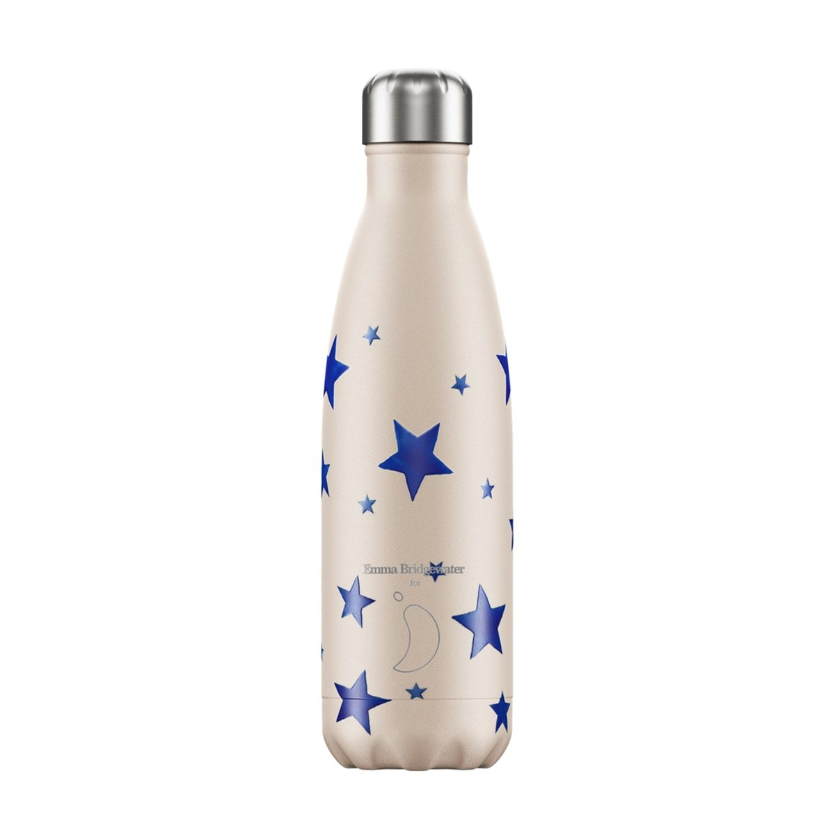 Thermosbeker van Chilly bottle in wit met blauwe sterren naar ontwerp van Emma Bridgewater