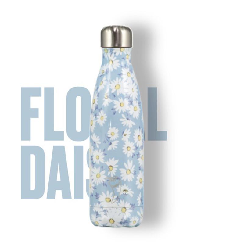 Thermosfles van het merk Chilly's Bottle. Lichtblauw met bloemen prrint