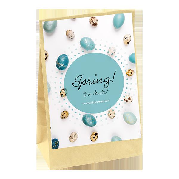 bedankt cadeau zakje met bloembollen met bedankt kaartje het is lente. Relatiegeschenk of bedrijfscadeau