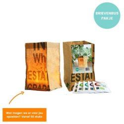 cadeauzakje candle bag inclusief 5 zakjes biologische thee superwase fairtrade