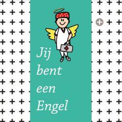 Een vierkant plat cadeau doosje met chocola en afdruk van een engel. Tekst Jij bent een engel. Het is een kado voor de dag van de zorg en verpleging 2020