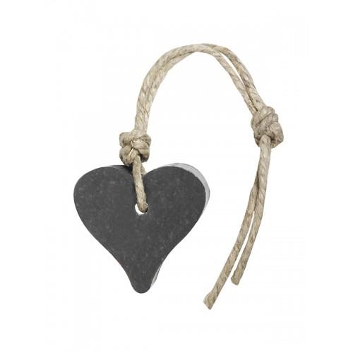 Zeep in hartvorm aan jute koord donkergrijs bedankt cadeau