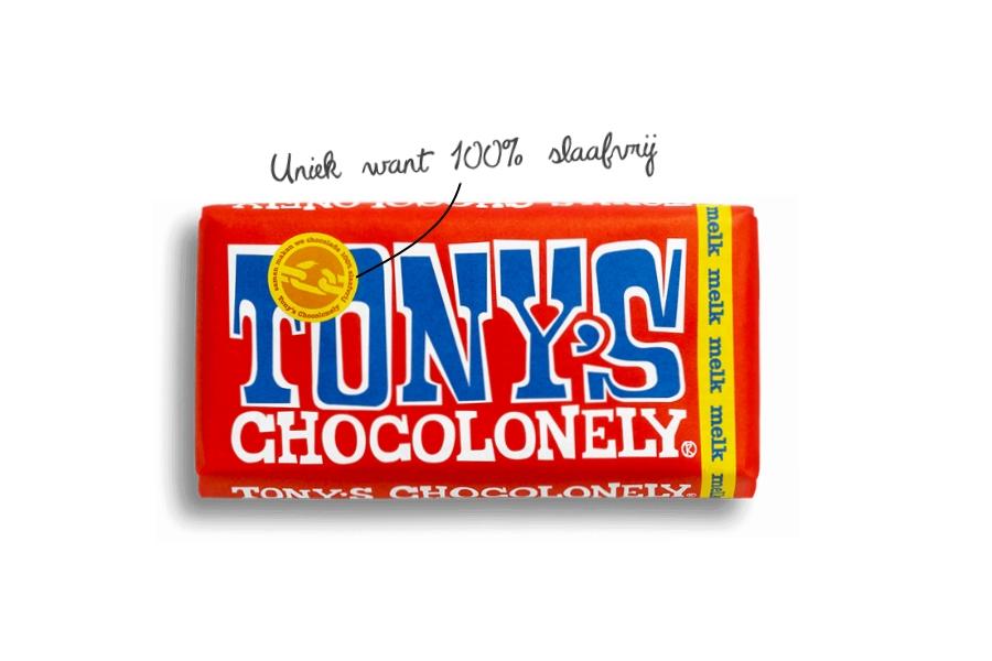 chololadereep van Tony Chocolonely fairtrade en slaafvrij melk 180 grem
