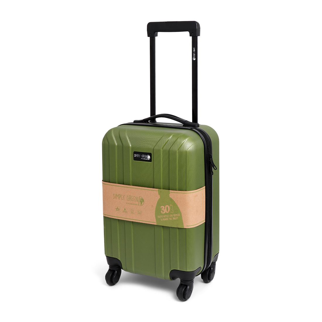 Duurzame handbagage koffer trolley tegen de plastic soep