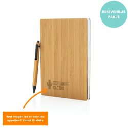 duurzame relatiegeschenken set pen en notitieboek van bamboe