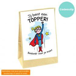 zakje met bloembollen en afbeelding superman met tekst jij bent een topper