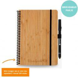 bamboek duurzaam notitieboek van bamboe A5 formaat met stift