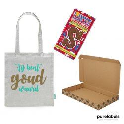 Brievenbus cadeau pakketje speciaal voor Sinterklaas met een Tony Chocolonely reep en een tas met opdruk jij bent goud waard