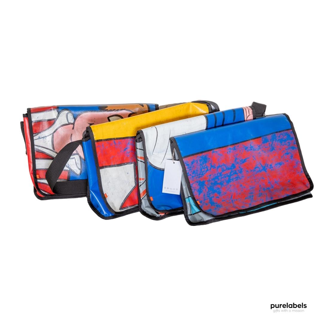 Duurzame tassen in vrolijke kleuren gemaakt van hergebruikt springkussen materiaal, in vrolijke kleuren