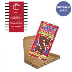 Cadeautje sinterklaas tony chocolonely reep met gepersonaliseerde kaart